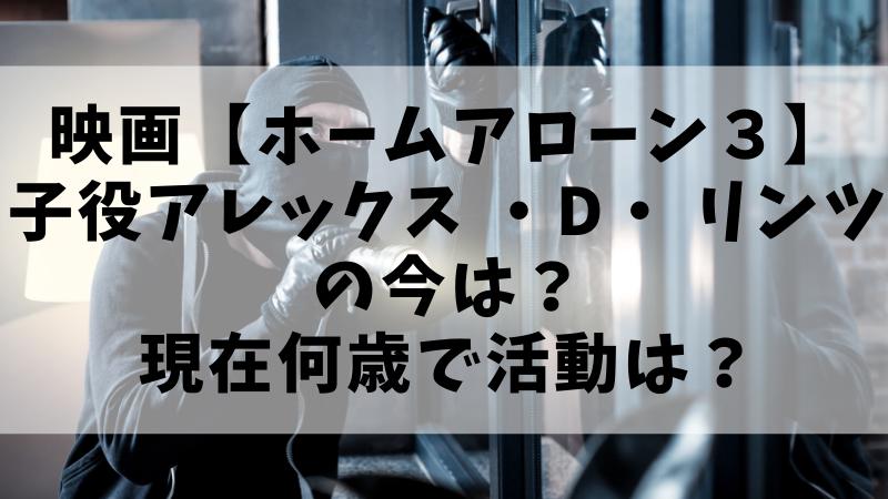 映画【ホームアローン3】の子役 アレックス ・D・ リンツの今は? 現在何歳で活動は?